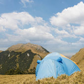 Special tent set on the grassland of high mountain. — Stock Photo