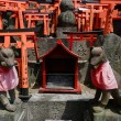 Stone fox statues  and many small torii. — Stock Photo #51496315