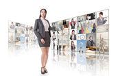 Woman introduce — Stock Photo