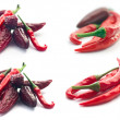 Red Hot Peppers isolated on white - Stock Photo