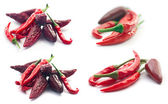 Red Hot Peppers isolated on white — Stock Photo