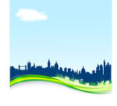 Spring background with London skyline. EPS10 — Stock Vector