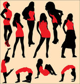 Collection of vector dance silhouettes — Stock Vector