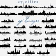 Detailed silhouettes of European cities — Stok Vektör