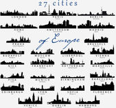 Detailed silhouettes of European cities — Cтоковый вектор