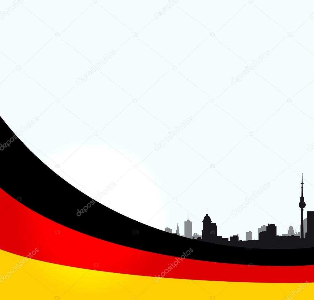 与德国国旗矢量柏林插画