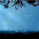 魔法の冬の森のベクトルの背景 — ストックベクタ
