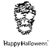 Halloween vecrot card : skull shape of bats — Stock Vector