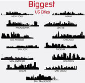 Set of Biggest American cities skylines — Stock Vector
