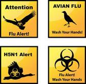 Avian flu alerts icons — Stock Vector