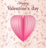 Pink vector paper Valentine's heart — Stock Vector