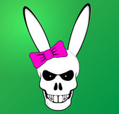 Funny Easter Bunny skull with pink bow — Stock Vector