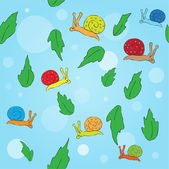 Cartoon snail and leaves seamless pattern — Stock Vector