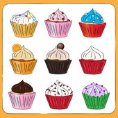 Fancy Sketchy Cupcakes collection — Stock Vector