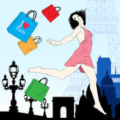 Happy shopping  in Paris vector illustration — Stock Vector