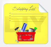 Vector post-it shopping list illustration — Stock Vector