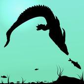 Hunting young Crocodile — Stock Vector