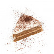 Piece of tiramisu  decotated with cacao — Stock Photo