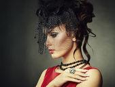 复古的一个美丽的女人的画像。复古风格 — 图库照片