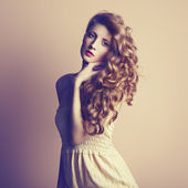 Photo of beautiful young woman. Vintage style — Stock Photo