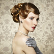 Retro portrait of beautiful woman. Vintage style — Stock Photo #22177979