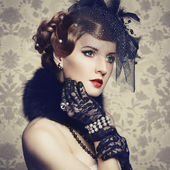 Retro portrait of beautiful woman. Vintage style — Stok fotoğraf