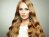 Photo of beautiful woman with magnificent hair. Perfect makeup — Foto Stock