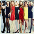Fashion collage. Group of beautiful young women — Stock Photo
