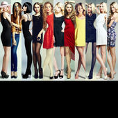 Fashion collage. Group of beautiful young women — Foto Stock
