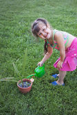 Little girl watering the plants — Stock Photo