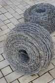 Two bays of barbed wire — Stock Photo