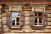 Two Windows of the old house in Russia — Stock Photo