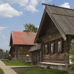 Street Russian village of the nineteenth century — Stock Photo