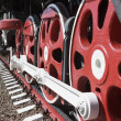 Wheels and coupling devices of a big locomotive — Stock Photo