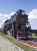 ładunku radziecka lokomotywa 50-tych — Zdjęcie stockowe