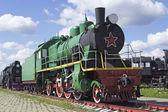 The old passenger Soviet locomotive — Stock Photo