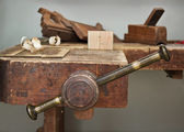 Old vise and tool in a workshop still-life — Stock Photo