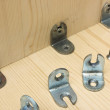 Fastening metal details at manufacturing wooden furniture — Stok Fotoğraf #38669991