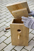 Making a birdhouse from boards spring season — Stock Photo