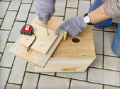Making  birdhouse from boards — Stock Photo
