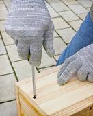 Make a birdhouse manually — Stock Photo