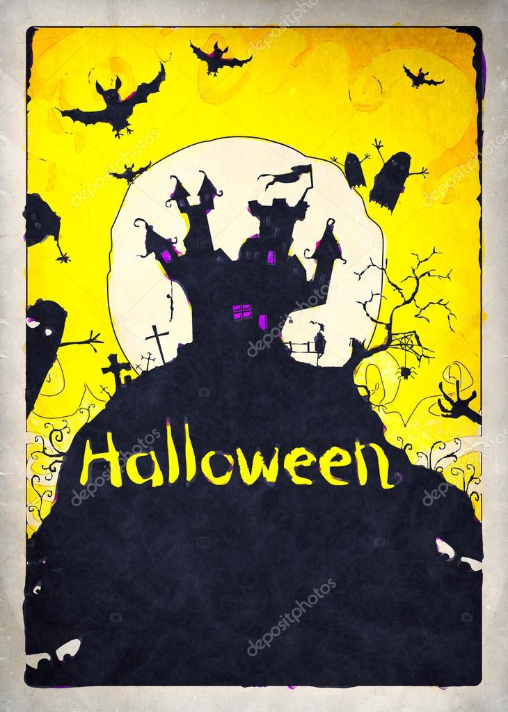 Painted Halloween background for party invitation  Foto de Stock   #13588905