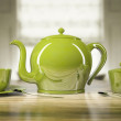 Green teapot and teacups — Stock Photo
