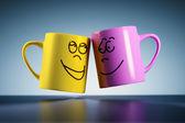 Weightless coffee mugs — Stock Photo