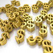 Golden dollar signs — Stock Photo