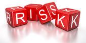 红色风险骰子 — 图库照片