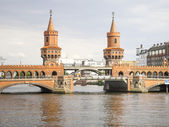 Red Bridge in Berlin Germany — Stock Photo