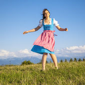 Woman in bavarian traditional dirndl — Stock Photo