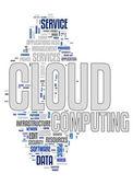 Il cloud computing nuvola testo — Vettoriale Stock