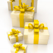 Gift boxes yellow — Stock Photo